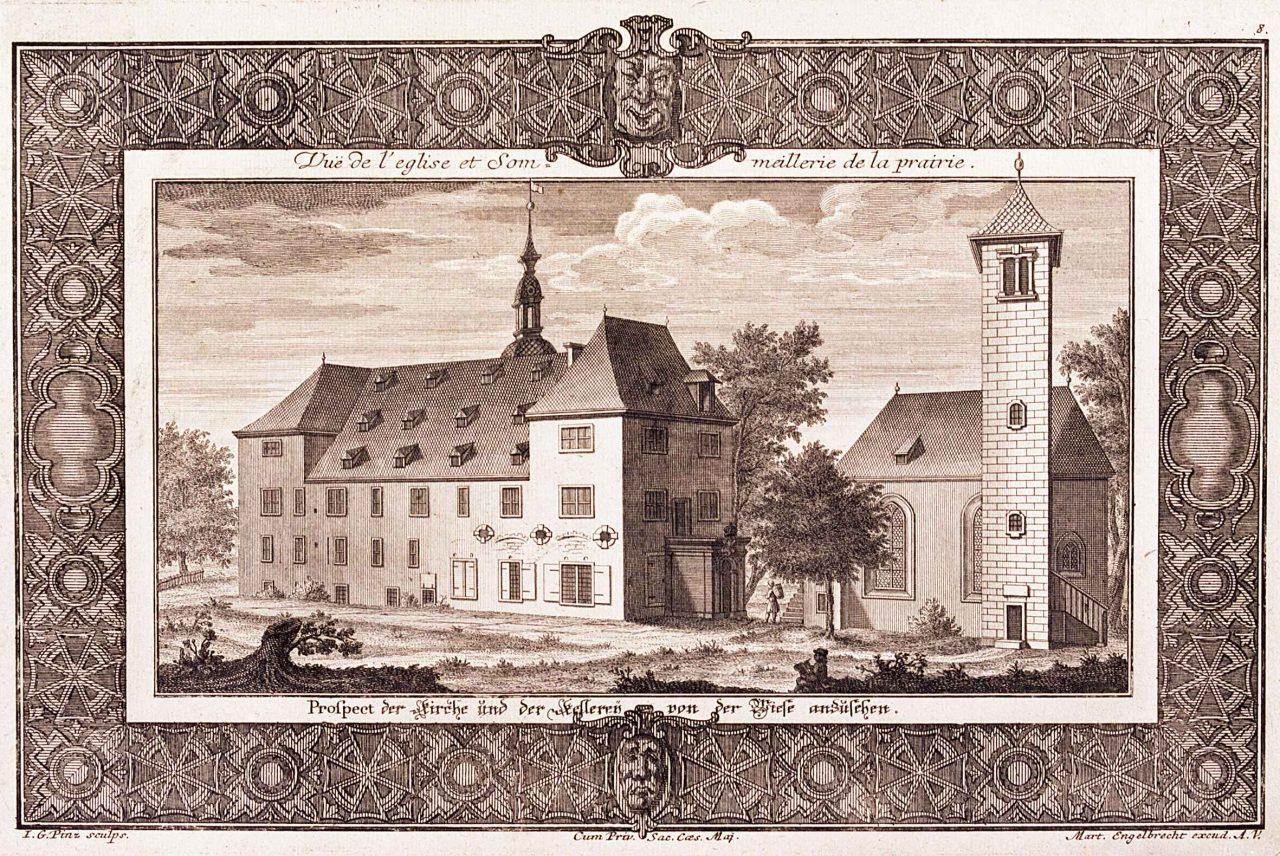 Alte Ansicht der Garnisonskirche und Magdalenenburg