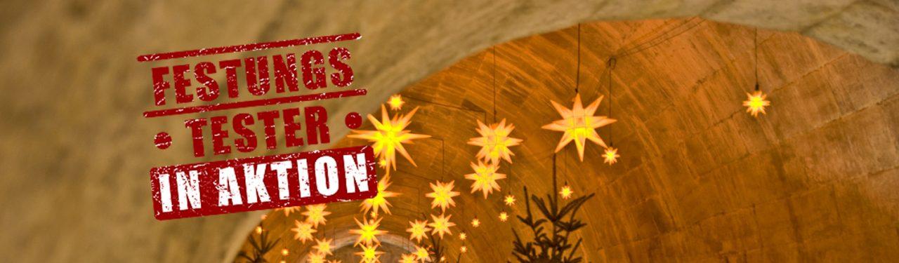 Blick in den Sternengang in den Kasematten auf dem Weihnachtsmarkt der Festung Königstein