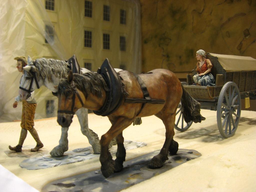 Modell eines Bauernwagens mit Pferden