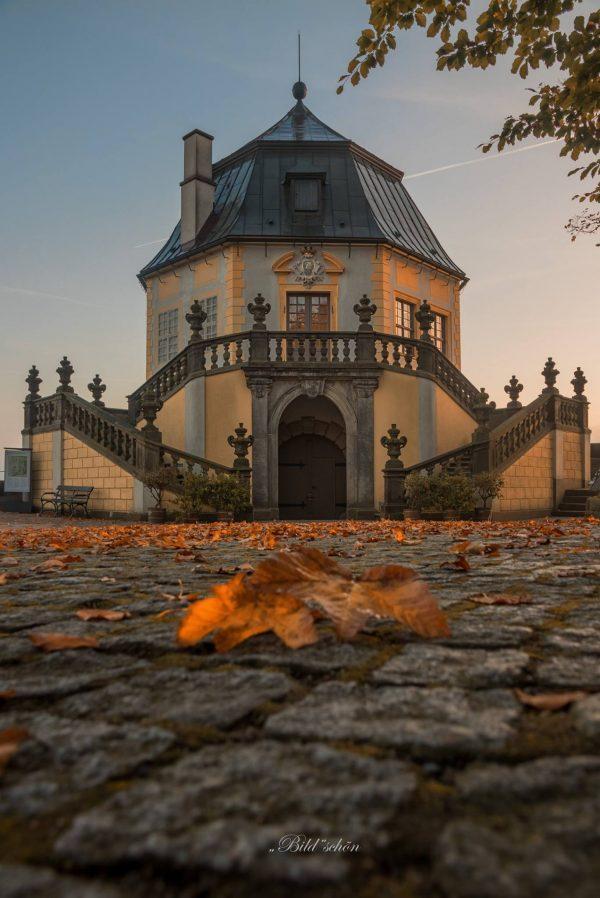 Herbstlaub auf dem Weg zur Friedrichsburg