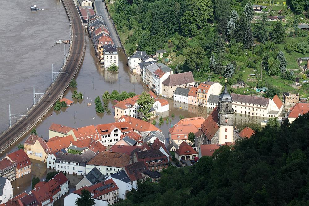 Königstein während der Flut 2013