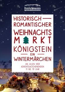Plakat für den historisch-romantischen Weihnachtsmarkt auf der Festung Königstein