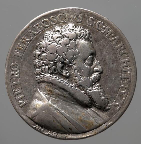 Medaille mit dem seitlichen Abbild des italienischen Architekten