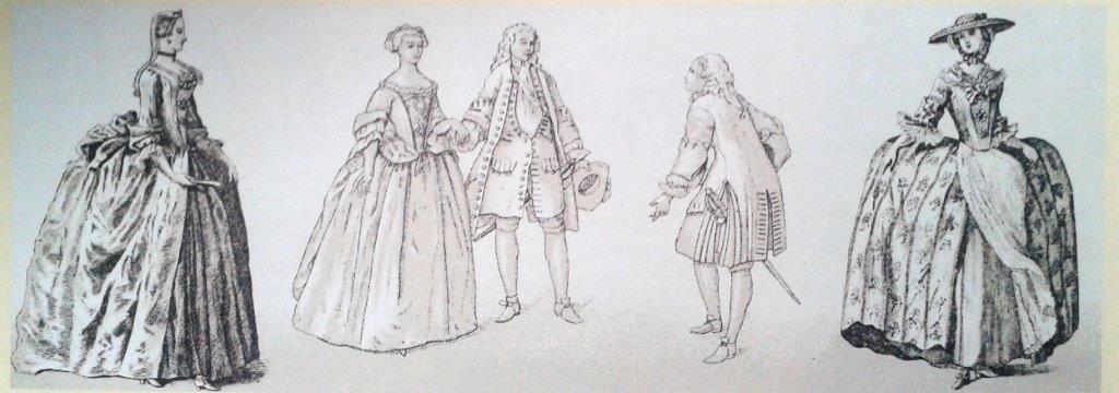 Rockformen Mitte des 18. Jahrhunderts