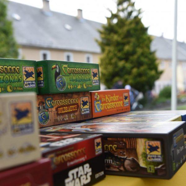 Carcassonne Spielkisten im Spielezelt