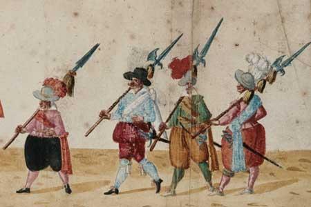 Aufzug zu den Fastnachtfeierlichkeiten in Dresden 1609