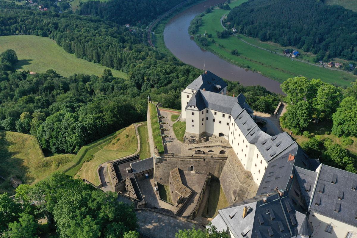 Luftaufnahme der Westbebauung der Festung Königstein